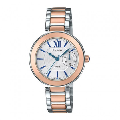 Casio Sheen White Dial Silver and Rose Gold Stainless Steel Band SHE-3050SG-7AUDR