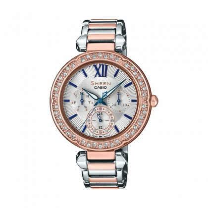 Casio Sheen White Dial Silver and Rose Gold Stainless Steel Band SHE-3061SPG-7BUDF