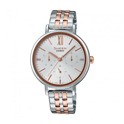 Casio Sheen White Dial Silver and Rose Gold Stainless Steel Band SHE-3064SPG-7AUDF