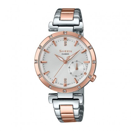 Casio Sheen White Dial Silver and Rose Gold Stainless Steel Band SHE-4051SPG-7AUDF