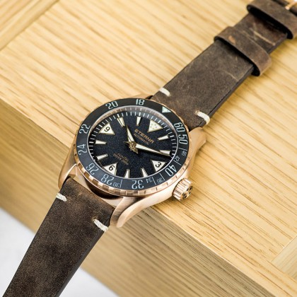Eterna Kontiki Bronze Limited Edition 44mm Matte Black Dial Brown Leather Automatic Watch 1291.78.50.1422