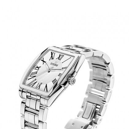 Titoni Wallstreet 38.8mm White Square Dial Silver Stainless Steel Strap Automatic Watch T-83727 S-314