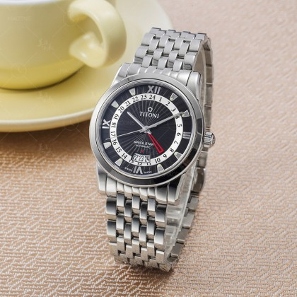 Titoni Space Star 41mm Black Dial Silver Stainless Steel Strap Automatic Watch T-94738 S-378