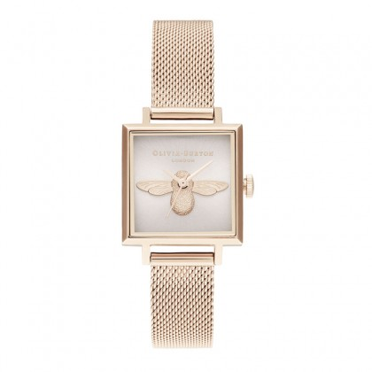 3D Bee Square Dial Blush Sunray & Pale Rose Gold 22.5mm Women's Watch | OB16AM164