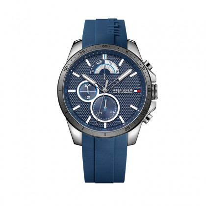 Tommy Hilfiger Chonograph 46mm Blue Dial Blue Rubber Men's Watch 1791350