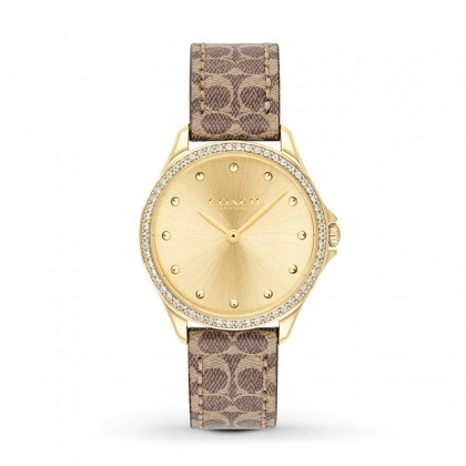 Coash Astor 31mm Gold Dial Leather Ladies Watch 14503218