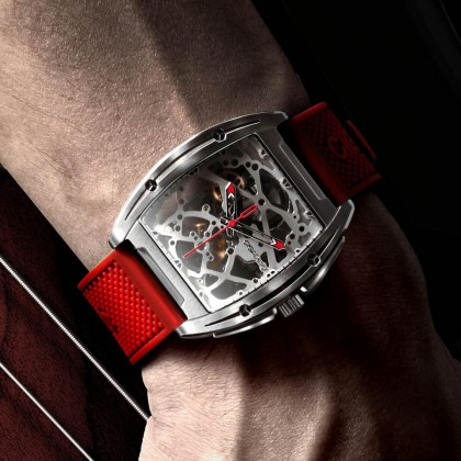 CIGA Design Z series Mechanical watch Silica and Leather Strap Black Blue Red
