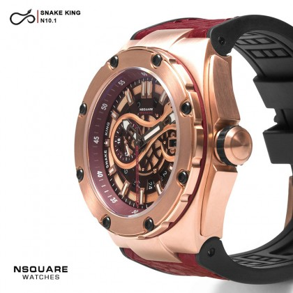 NSQUARE SnakeKing Automatic Watch 46mm 10.1 Rose Gold/Night Maroon